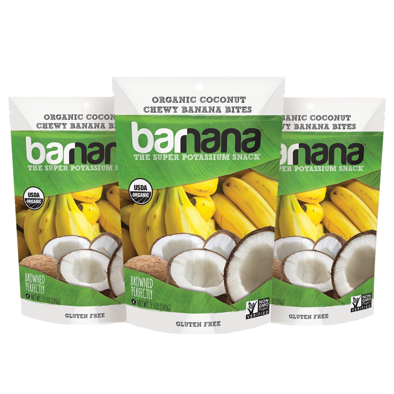 Barnana Organic Chewy Banana Bites, Coconut, 3.5 Ounce, 3 Count by Barnana