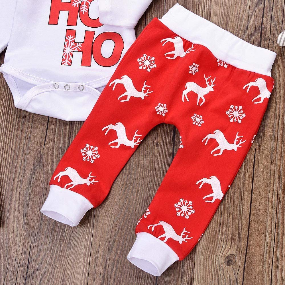 FeiliandaJJ Baby Clothing Set 3pcs Infant Toddler Baby Boy Girl Xmas Romper Tops+Pants Christmas Deer Outfits Clothes