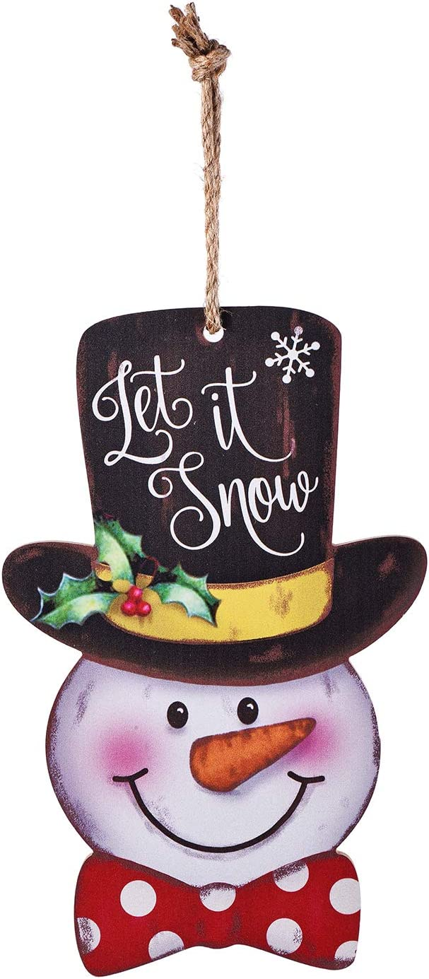 MAIYUAN Snowman Door Wall Plaque Sign Christmas Holiday New Year Hanging Decoration Indoor Outdoor Wood Sign Home Decor (Let It Snow)