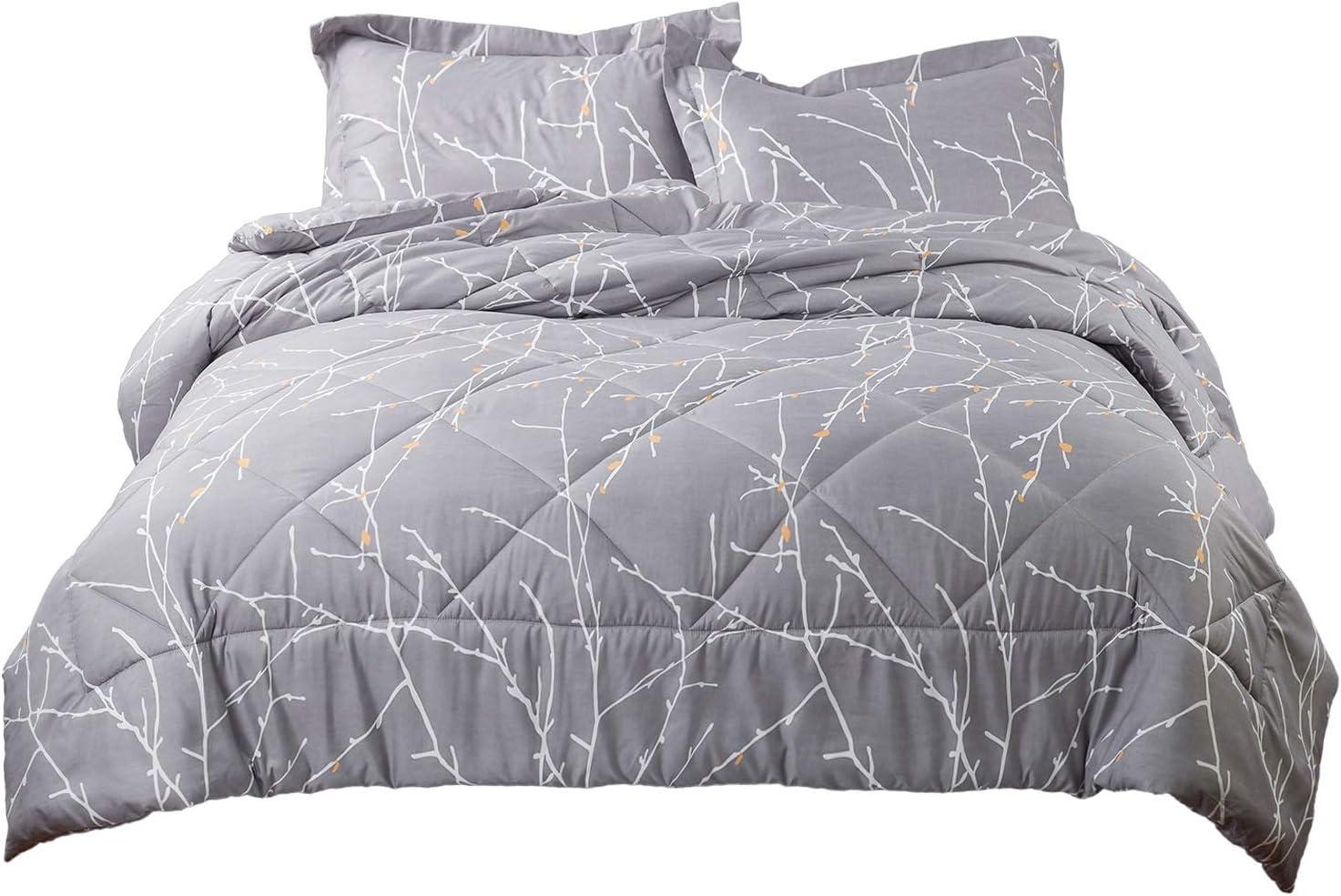 Bedsure Down Alternative Comforter Set King Size Grey Reversible Sherpa Duvet In