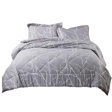 Bedsure Tree Branch Floral Comforter Set Full/Queen Size Grey Down Alternative Comforter Duvet Sets (1 Comforter + 2 Pillowcase)