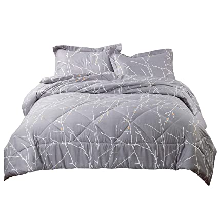 Floral Bedspreads And Comforters.Bedsure Tree Branch Floral Comforter King Size Grey Down Alternative Comforter Microfiber Duvet 3 Pieces 1 Comforter 2 Pillow Shams