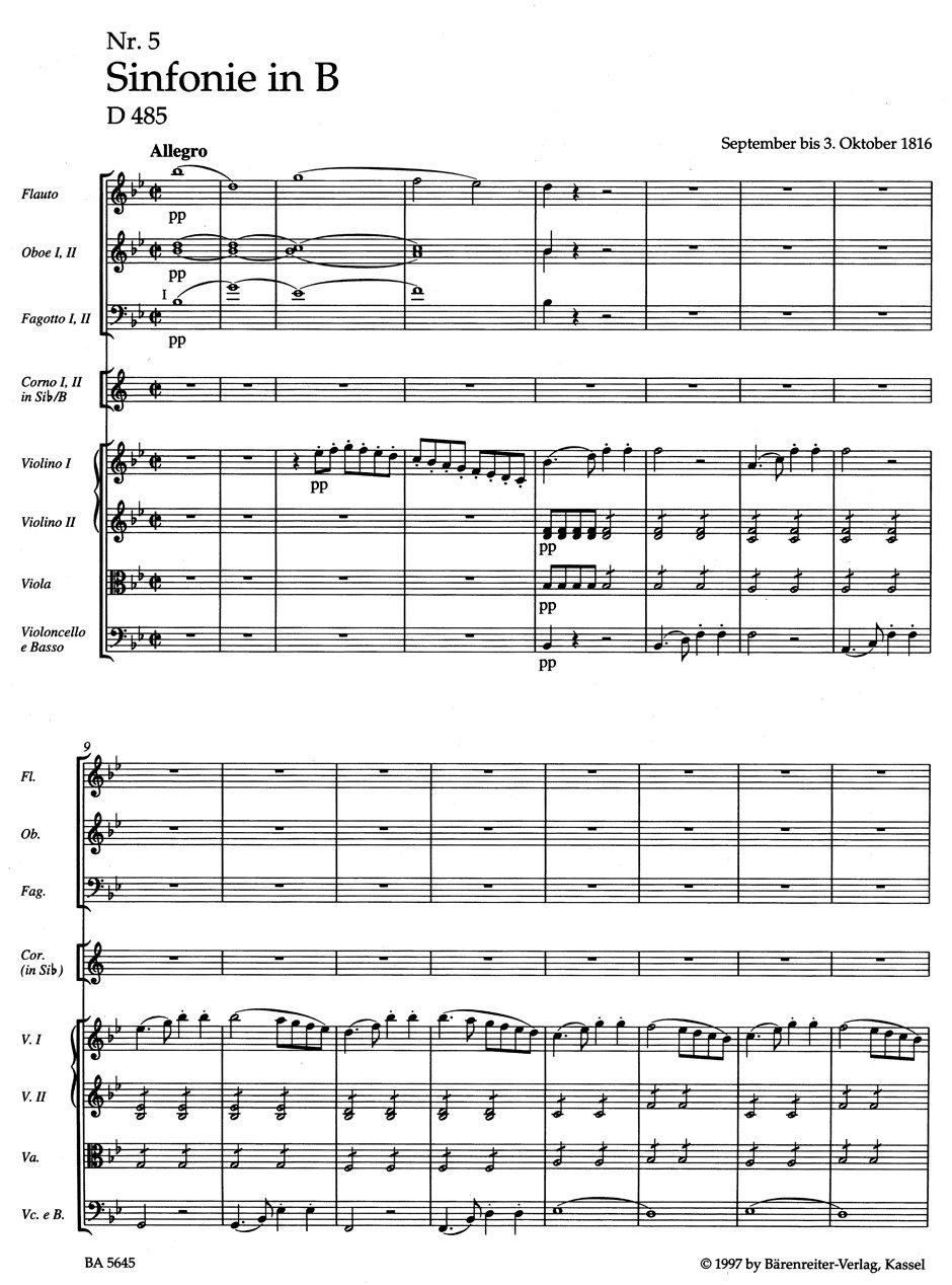 Sinfonie Nr. 5 B-Dur D 485. BÄRENREITER URTEXT. Partitur ...