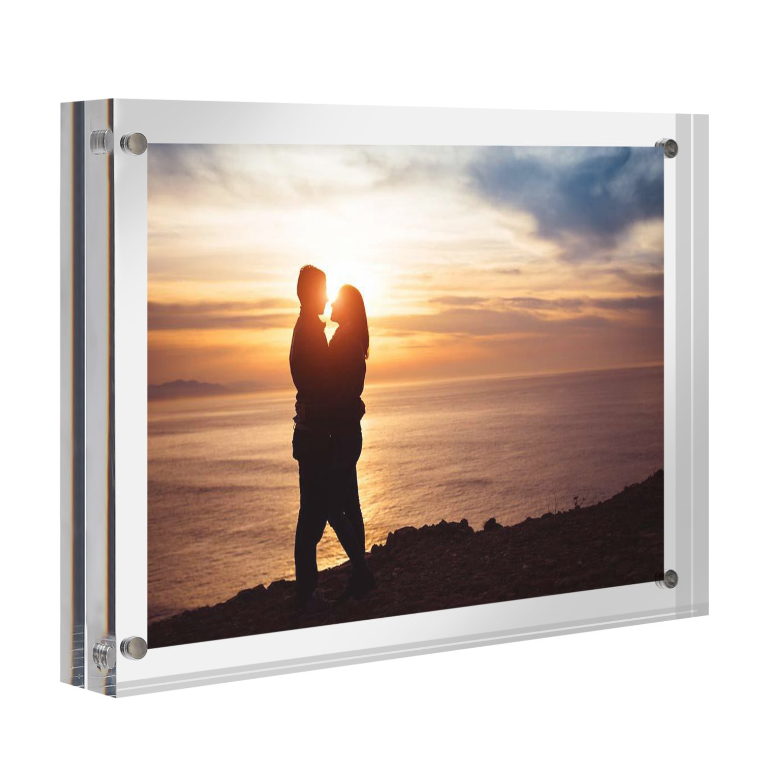 CRUODA Acrylic Photo Frame 5x7, Magnetic Picture Frames, Double Sided Thick Frames, Family Picture Frames