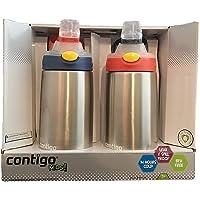 (跨境自营)(包税) Contigo 自动翻盖儿童水瓶 2件装 蓝色/橙色