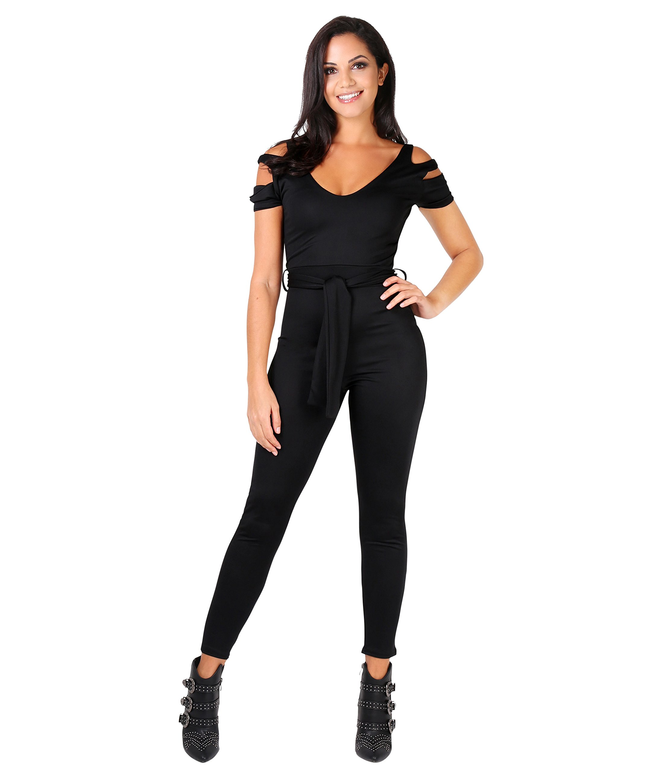 KRISP Cut Out Jumpsuit (Black, US 10),[4639-BLK-14]