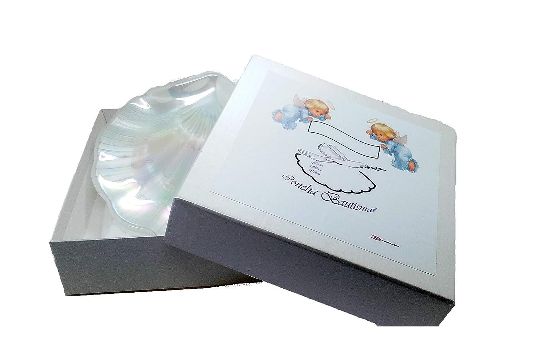 Taufe Muschel aus Glas in Perlmuttoptik mit pers/önlichem Etui