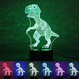 OULII Luz de la noche 3D lámpara Efecto de luz visual 7 colores cambios, regalo de Navidad (dinosaurio)