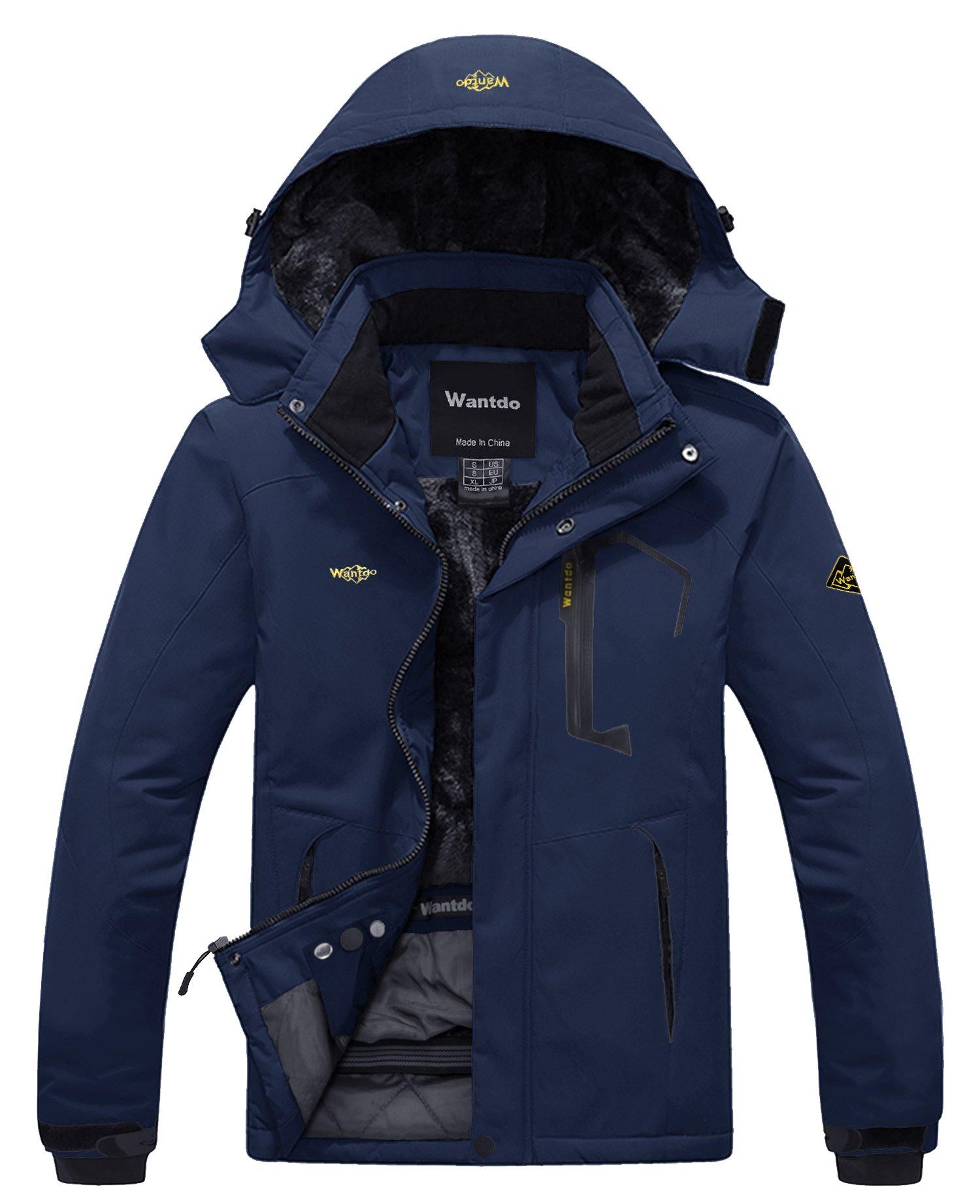 Wantdo Men's Waterproof Fleece Ski Jacket Windproof Rain Jacket Navy S