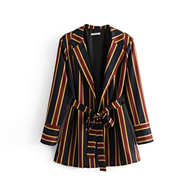 800b1e8cd5fa Image Unavailable. Image not available for. Color  Women s Suits Spring  2019 Office Style Striped Blazers Jacket Striped Straight Pant ...