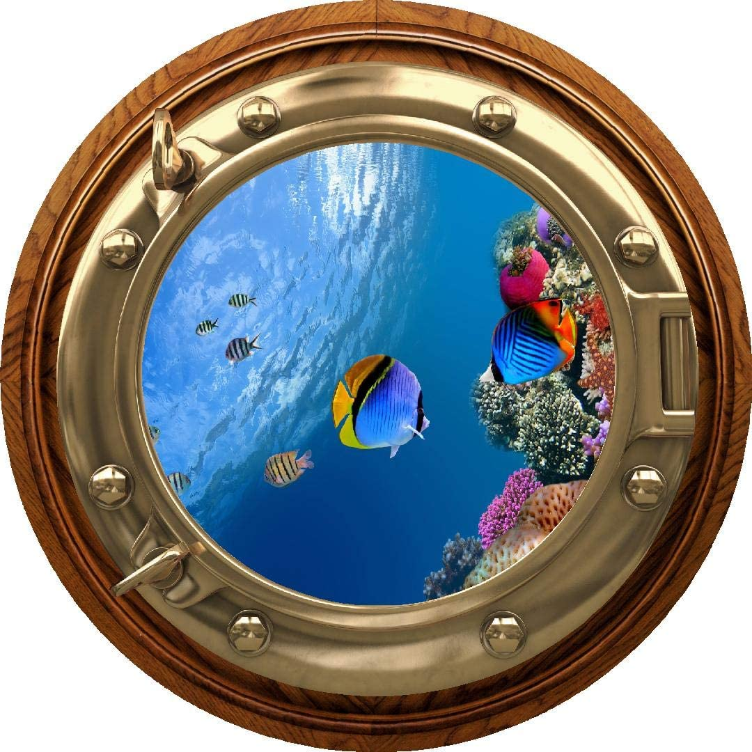 "24"" Porthole Window Wall Decal Sticker Tropical Reef Life #2 Brass Wood Sea Ocean 3D Port Scape Removable Vinyl Peel and Stick Wall Mural for Children"