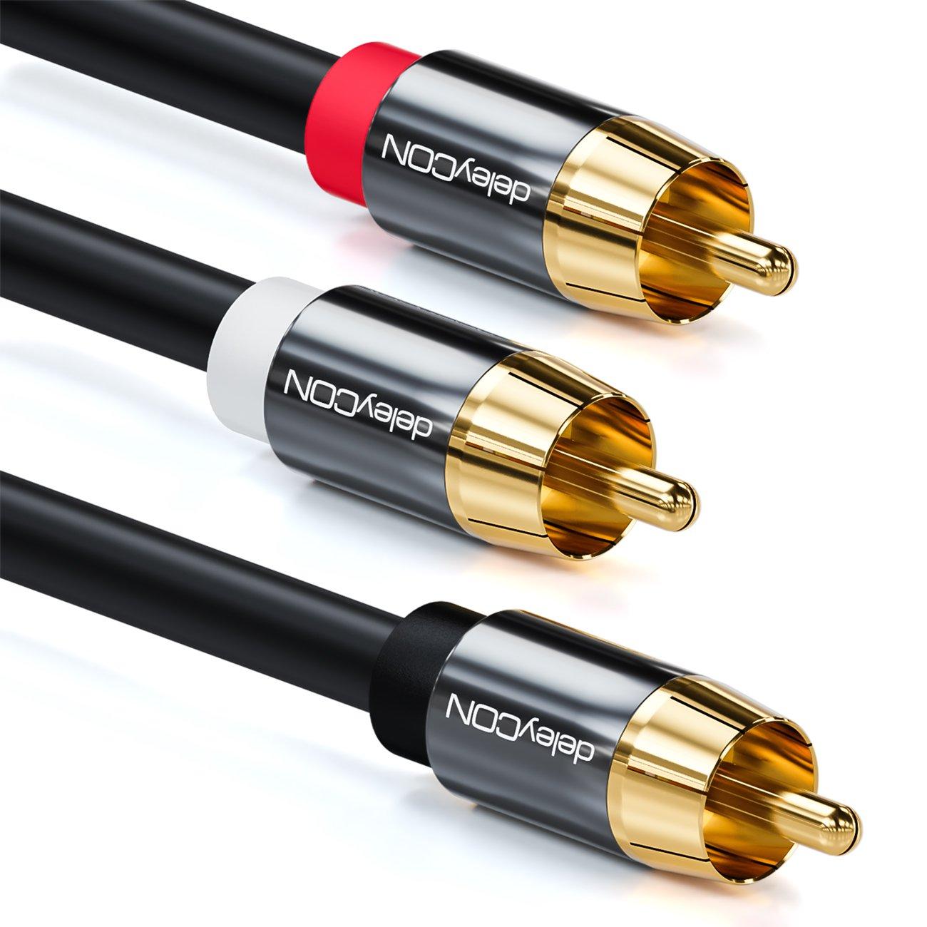 Cable Coaxial Digital con Conector RCA en Forma de Y Cable de Audio de Conector RCA a 2X Conectores RCA Contactos Chapados deleyCON Cable para Subwoofer 10m