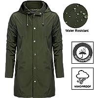 Bosbary Men Raincoats Waterproof Lightweight Active Long Outdoor Hooded Rain Jacket for Men