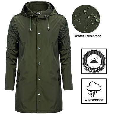 88298b122 bosbary Men Raincoats Waterproof Lightweight Active Long Outdoor ...
