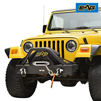 Amazon.com: EAG Front Bumper With D-Rings for 87-06 Jeep Wrangler TJ