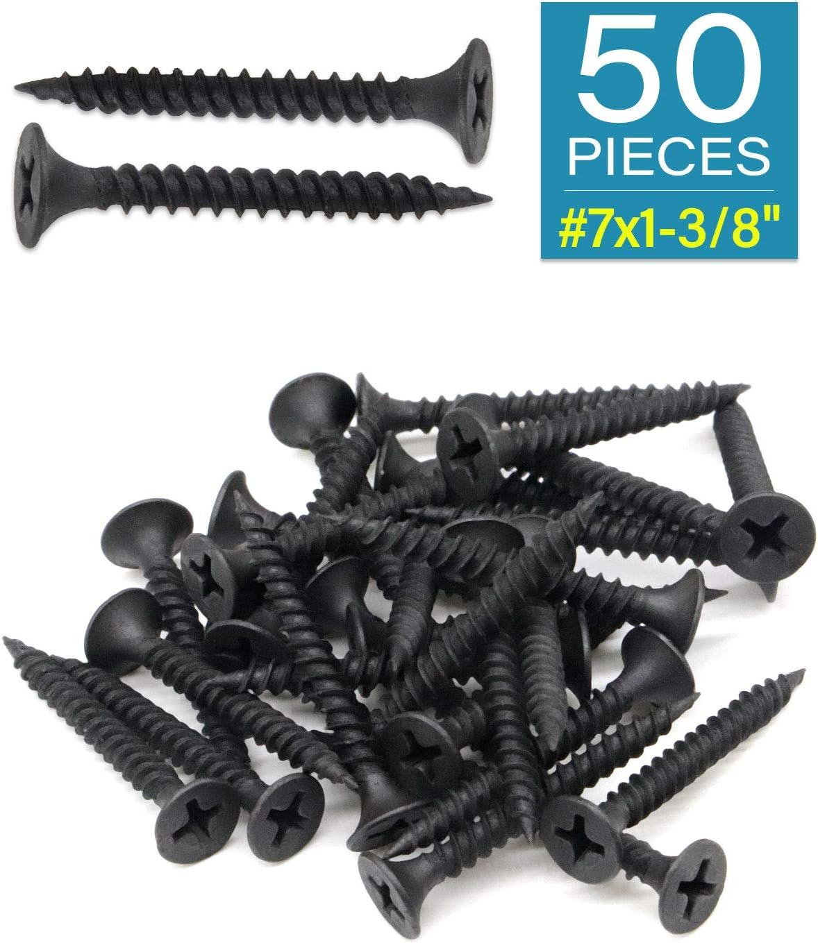Black Phosphate IMScrews 50pcs #7x1-3//8 Flat Head Phillips Drywall Screws Fine Thread Sharp Point Wood Screw Assortment Kit Carbon Steel 1022A