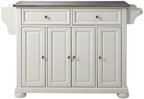 Crosley Furniture Alexandria Kitchen Island With Stainless Steel Top   White