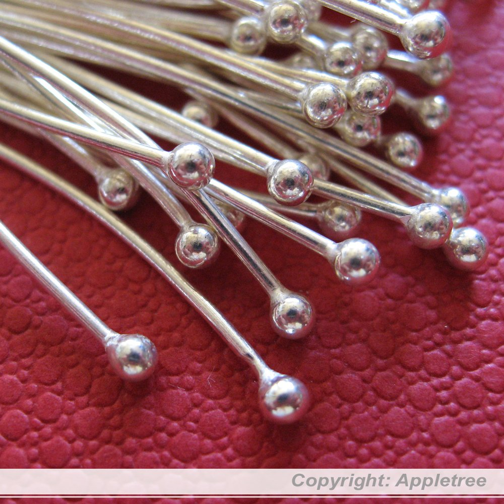 100 Solid Sterling Silver Ball Head Pins Wire 24 ga 1.5 in Top Quality Headpins by AppletreeGems