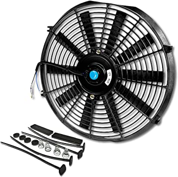 14 Inch, Blue Upgr8 Universal High Performance 12V Slim Straight Blades Electric Cooling Radiator Fan With Fan Mounting Kit