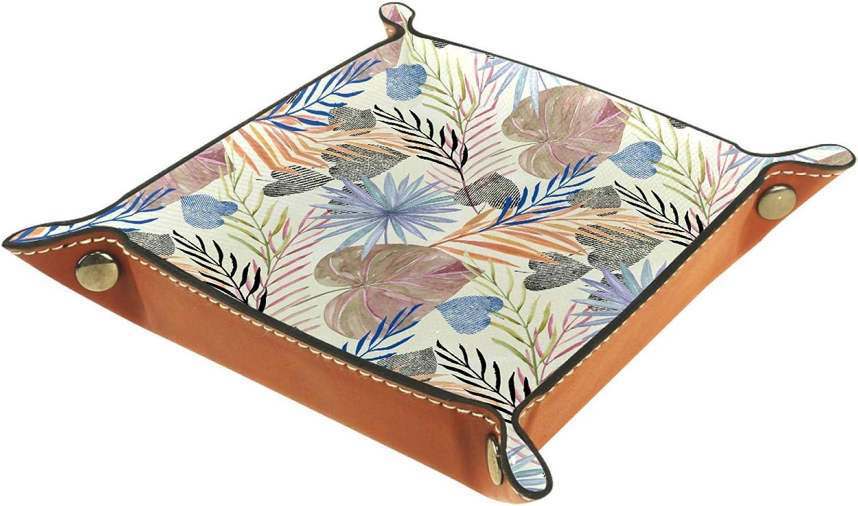 Bandeja de cuero para guardar joyas, bandeja de dados, bandeja de noche, para cambio de moneda, reloj y soporte para caramelos, bandeja de entrada, hojas de palma de colores