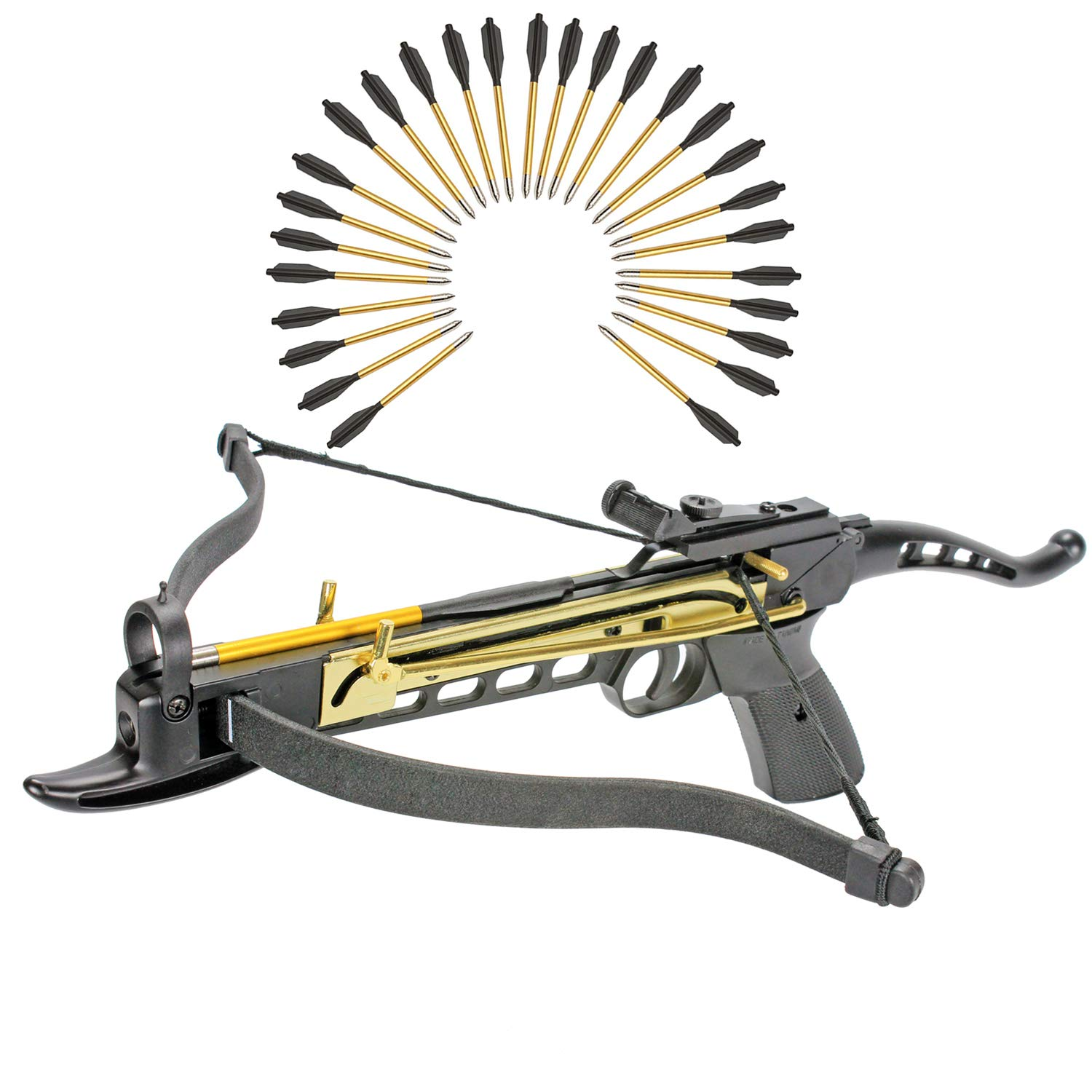 KingsArchery Crossbow Self-Cocking 80 LBS with Adjustable Sights and a Total of 27 Aluminim Arrow Bolt Set Warranty