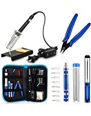 Anbes Soldering Iron Kit, [Upgraded] 60W Adjustable Temperature Welding Tool with ON-OFF Switch, 8-in-1 Screwdrivers, 2pcs Soldering Iron Tips, Solder Sucker, Wire Cutter,Tweezers,Soldering Iron Stand