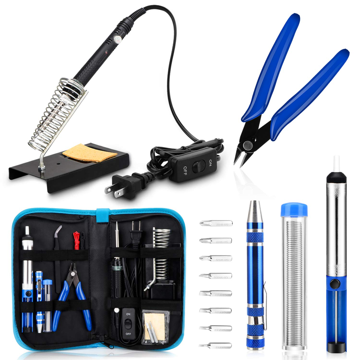 Anbes Soldering Iron Kit, [Upgraded] 60W Adjustable Temperature Welding Tool with ON-OFF Switch, 8-in-1 Screwdrivers, 2pcs Soldering Iron Tips, Solder Sucker, Wire Cutter,Tweezers,Soldering Iron Stand by ANBES