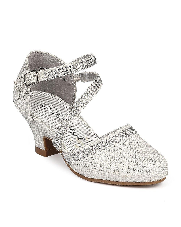 224c3538e7 Amazon.com   Glitter Shimmer Rhinestone Mary Jane Kitten Heel Pump  (Toddler/Little Girl/Big Girl) DB69 - Off White   Shoes