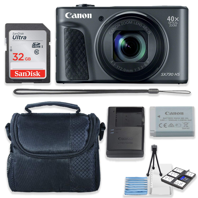 Canon PowerShot SX730 HS デジタルカメラ (ブラック) キット Sandisk 32GB 高速メモリーカード + カメラケース + スターターキット   B07KQNKXPR
