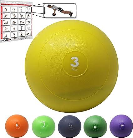 POWRX Slam Ball Balón Medicinal 3 kg - Ideal para Ejercicios de ...