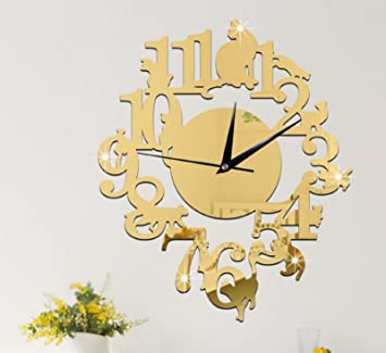 Amazon.com: (Gold Color) NEW home decor wandklok creative wall watch reloj Acrylic Cats Lovery large 3d vintage wall clocks modern design murale reloj ...