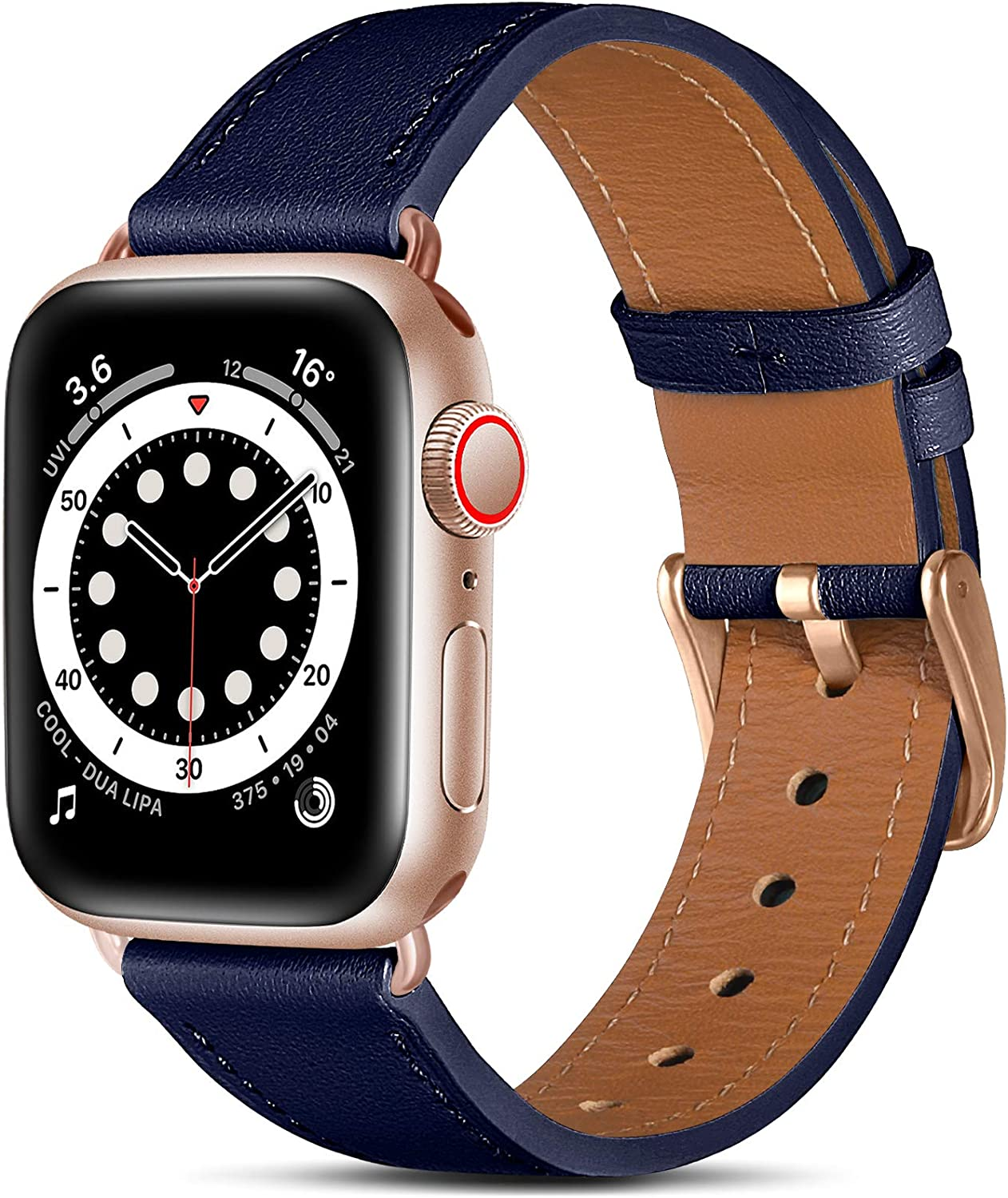 Easuny Leather Band Compatible with Apple Watch Bands SE 40mm 38mm iWatch Series 6 5 4 3 2 1, Classical Elegent Genuine Leather Strap Wristband Replacement Accessories for Women Men,Navy Blue