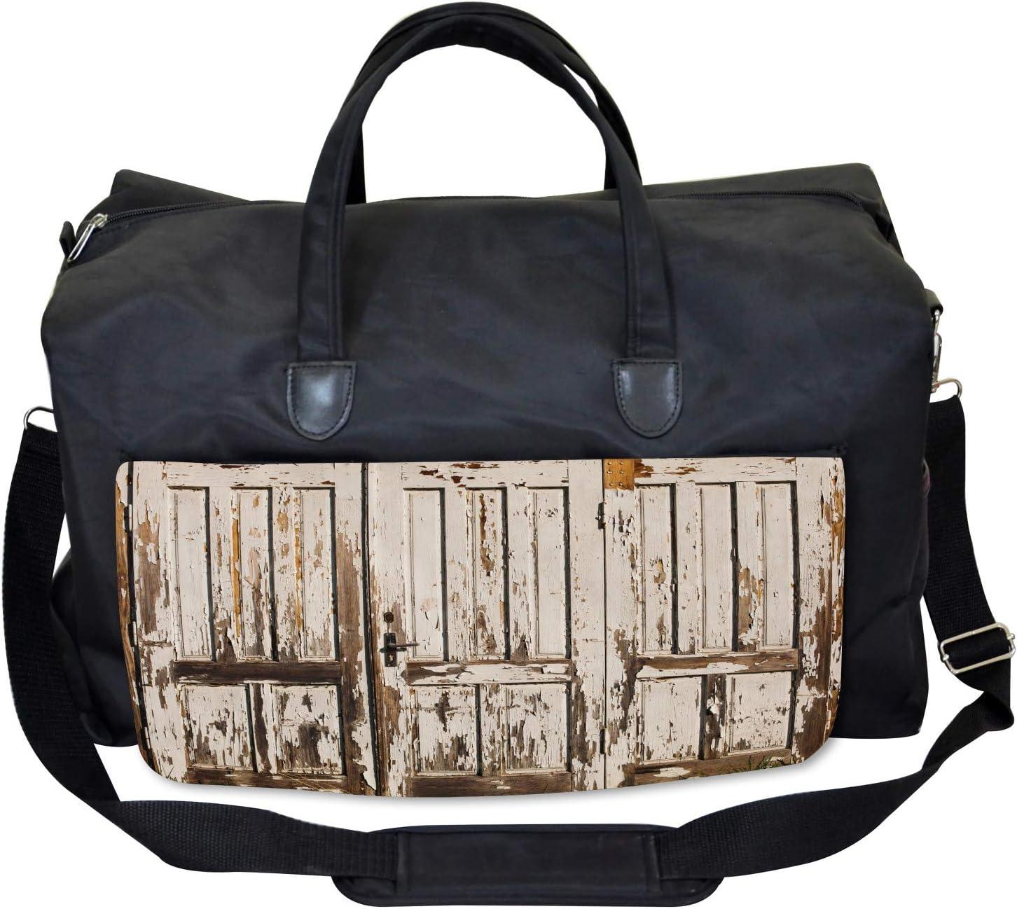 Large Weekender Carry-on Vertical Rustic Planks Ambesonne Vintage Gym Bag