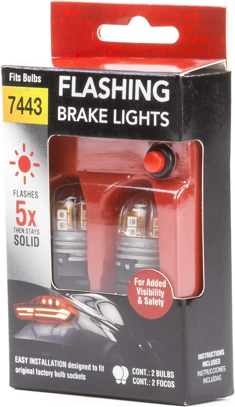 Pilot Automotive AMA-7443-RBK-921 Bright 7443 7440 T20 1034 1178 2057 7528 1016 2357 1196 Red Strobing Flashing Brake w//921 T8 T12 T15 192 194 168 175 920 Reverse White LED Mini Bulb Kit