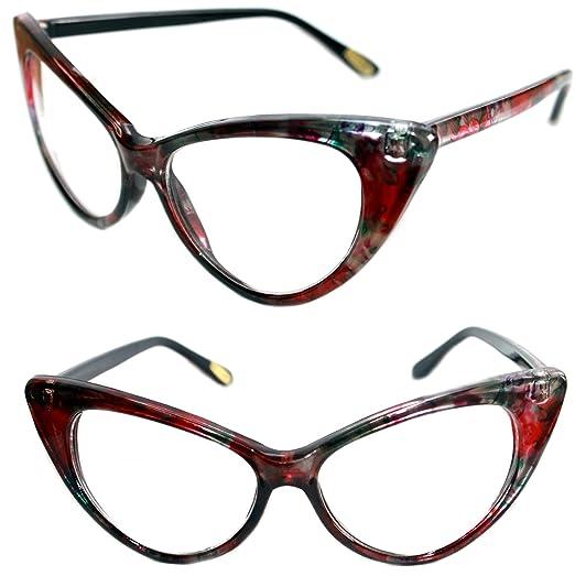 7395d82684 Women s 50 s Vintage Clear Lens Cat Eye Glasses Flower Print Nikita Pin Up  (Multi Flower