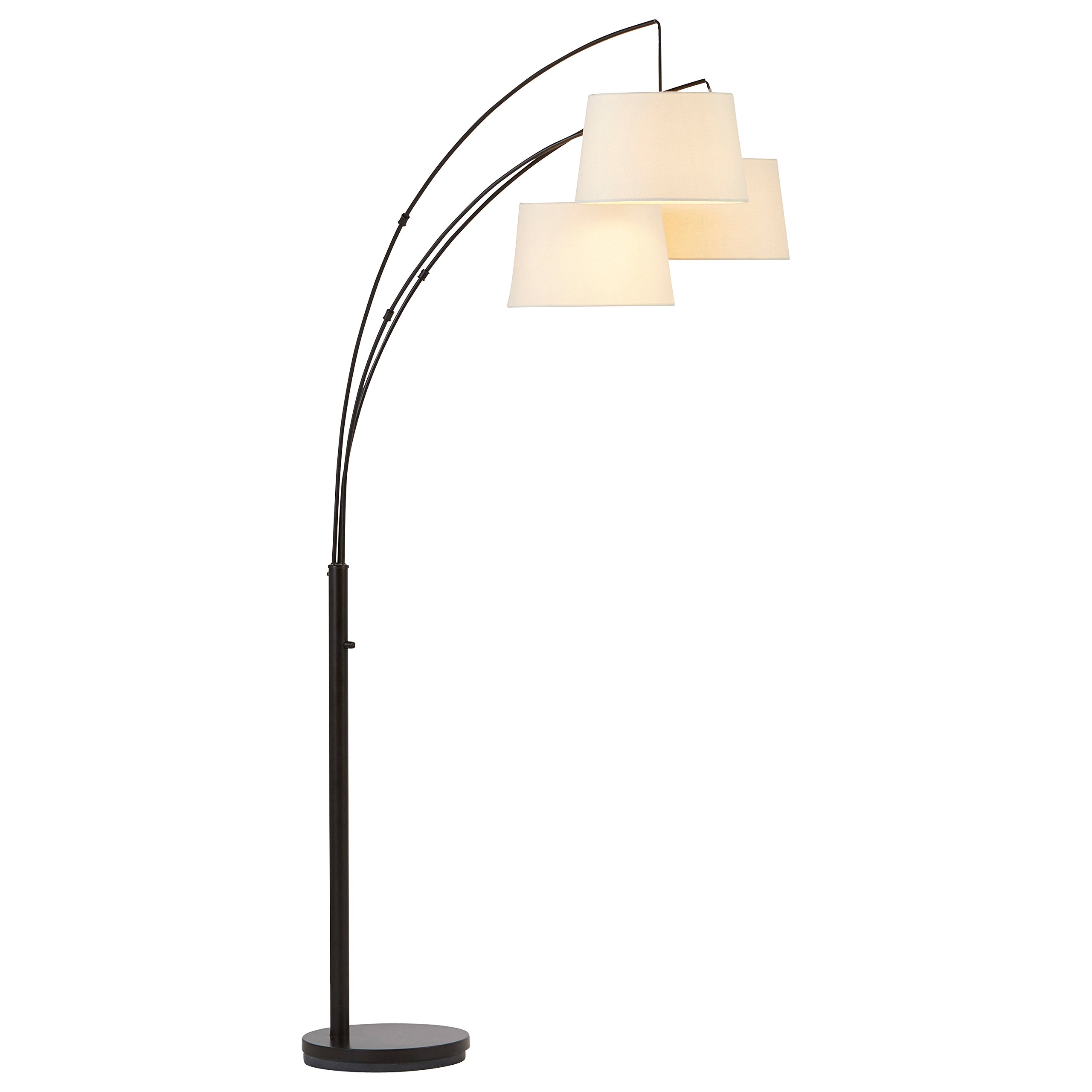 Rivet Modern Adjustable 3-Arm Floor Lamp, 77''H, With Bulbs and Burlap Shades by Rivet