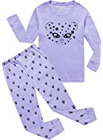 MMII pajamas Cat Little Girls 100% Cotton Pajamas Set 2 Piece Sleepwears Pjs