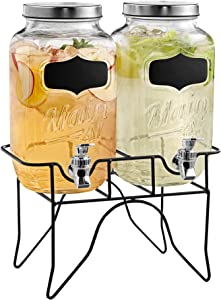 Style Setter 210839-GB Beverage Cold Drink Dispenser w/ 0.8-Gallon Each Capacity Glass Jug, Leak-Proof Acrylic Spigot in Gift Box for Parties, 13x9x14, Clear