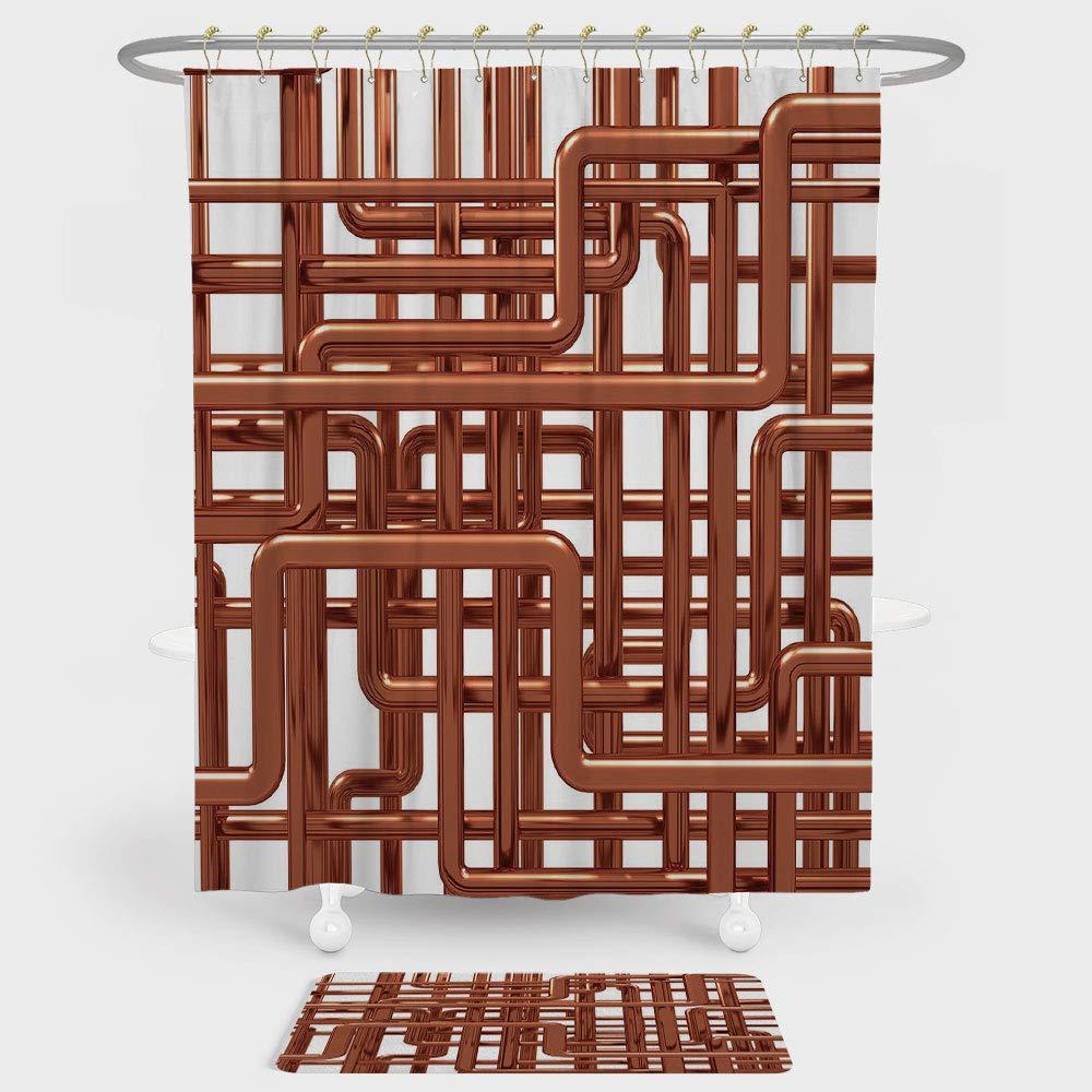 iprint Cortina de Ducha de Cobre y Alfombrilla de Suelo combinada con Nudos de Tubos de Cobre con líneas enredadas, decoración Inspirada en la Industria para decoración y Uso Diario Bronce Blanco:
