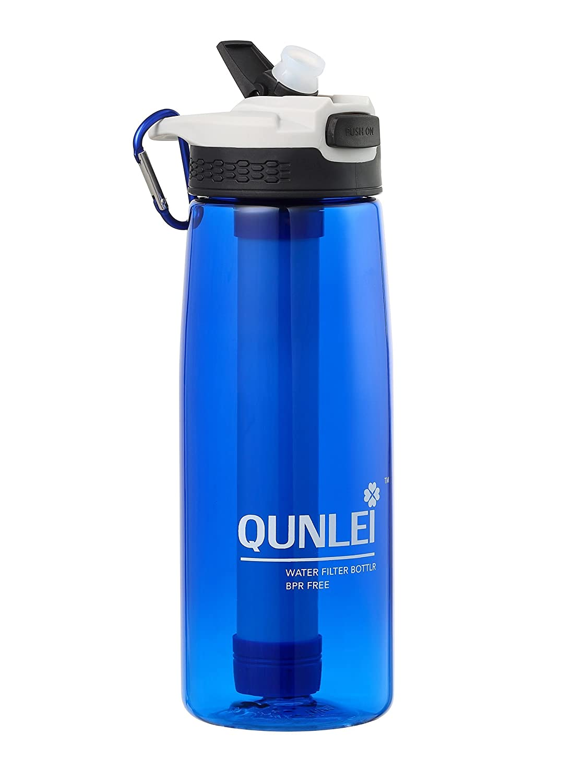 QUNLEI Filtro de agua personal de 2 etapas para senderismo, acampada y viajes, filtro de supervivencia o emergencia – botella de agua libre de BPA B07BMQRP2T