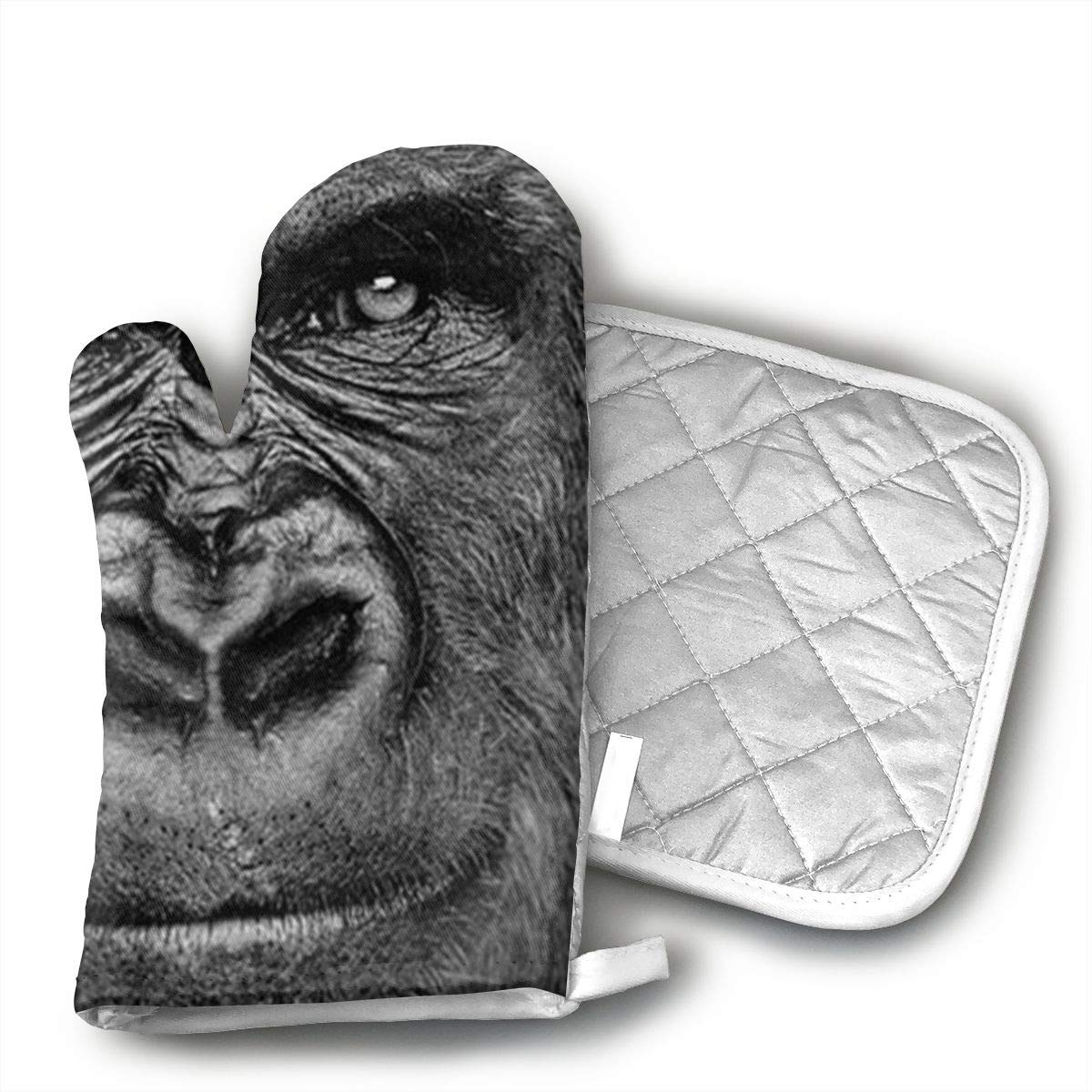 AOAOAO Gorilla Art Print Cookware and Oven Gloves 2 Pieces Durable for Cooking, Baking, Grilling