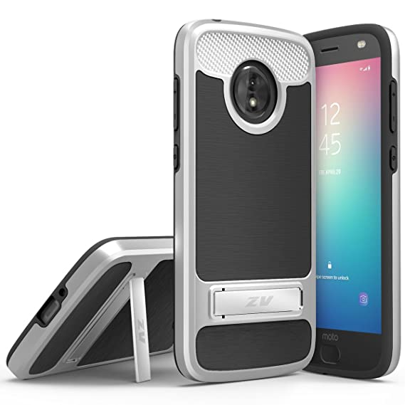 for Moto E5 Cruise Case Phonelicious Motorola Moto E5 Cruise (Cricket)  Kickstand Heavy Duty Rugged Slim Durable Hybrid Shockproof Phone Cover  (Silver