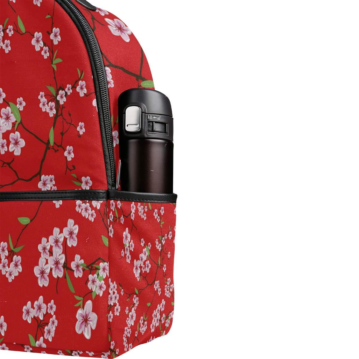 BIGJOKE Backpack School Bags Japanese Floral Flower Sakura Large Capacity Casual Printed School Shoulder Bag Daypack Travel Laptop Women Adults Boys Girls