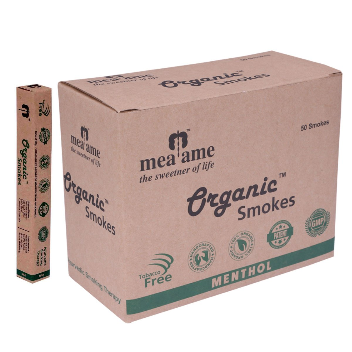 Organic Smokes - Luxury Herbal Cigarettes in Menthol Flavor. 50's Economy box. Filter fitted. 100% Herbal, GMP Certified. Quit Smoking Aid. Hand crafted. Excellent Alternative to Ecstasy and Honeyrose