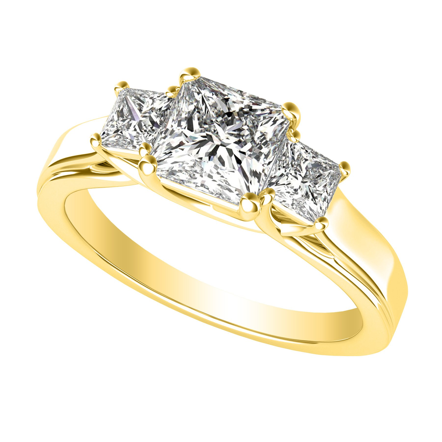 3/4 Carat 3 Three Stone Princess Diamond Engagement Ring 14K Yellow Gold I-J Color I1-I2 Clarity