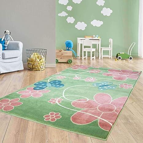 Taracarpet Moderner Kurzflor Kinderzimmer Teppich für Das Kinderzimmerblaue  Schmetterlinge auf Grün und Rosa Blumen Öko Tex Zertifiziert 080x150 cm