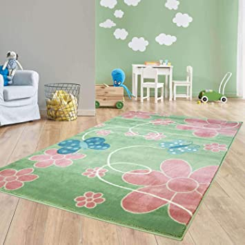 Taracarpet Moderner Kurzflor Kinderzimmer Teppich für Das Kinderzimmerblaue  Schmetterlinge auf Grün und Rosa Blumen Öko Tex Zertifiziert 160x230 cm