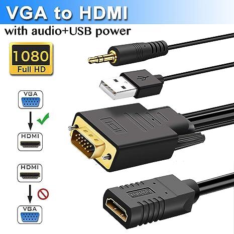 Elecable Cable Adaptador VGA a HDMI con Audio, VGA a HDMI para conectar Ordenador portátil o de sobremesa con VGA (D-Sub, HD de 15 Pines) a Monitor o HDTV con HDMI.: Amazon.es: