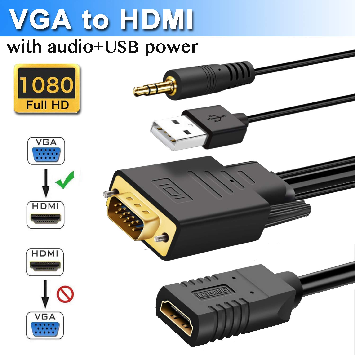 VGA to HDMI Adapter Cable with Audio, VGA to HDMI Converter Cable for Connecting Laptop or Desktop with VGA(D-Sub,HD 15-pin) to Monitor or HDTV with HDMI (HDMI Female) by Elecable