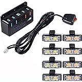 Combo 4pcs White + 4pcs Amber 2-LED Flashing Strobe Lights Bar Grill Emergency Warning Hazard